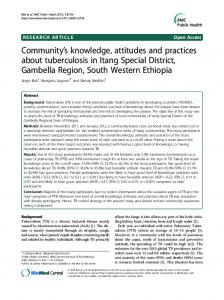 Community  s knowledge, attitudes and practices about tuberculosis in