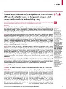 Community transmission of type 2 poliovirus after ... - The Lancet