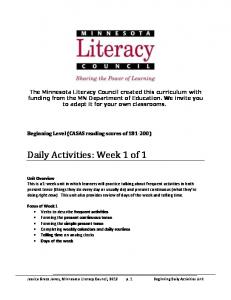 Community Unit SAMPLE LESSON - Minnesota Literacy Council
