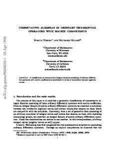 COMMUTATIVE ALGEBRAS OF ORDINARY DIFFERENTIAL