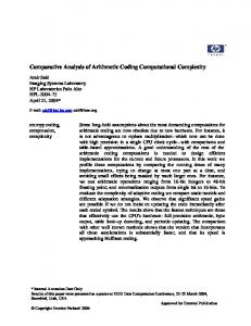 Comparative Analysis of Arithmetic Coding Computational ComplexitY