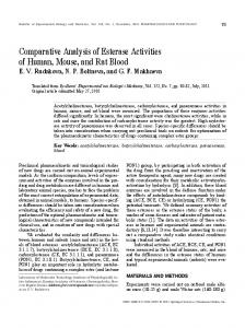 Comparative Analysis of Esterase Activities of Human ... - Springer Link