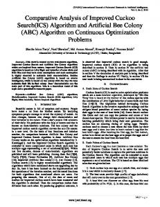 Comparative Analysis of Improved Cuckoo Search (ICS) Algorithm ...