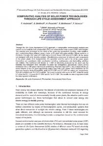 comparative analysis of solar power technologies ...