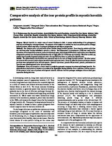 Comparative analysis of the tear protein profile in ... - Molecular Vision