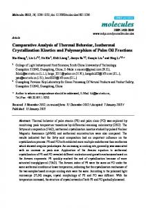 Comparative Analysis of Thermal Behavior, Isothermal ... - MDPI