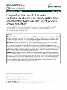 Comparative assessment of absolute cardiovascular disease risk ...