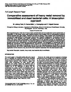 Comparative assessment of heavy metal removal by ... - CiteSeerX