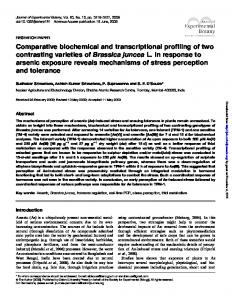 Comparative biochemical and transcriptional profiling ...