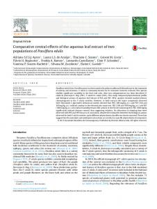 Comparative central effects of the aqueous leaf