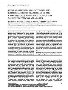 Comparative cranial myology and biomechanics ... - Wiley Online Library