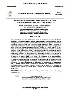 COMPARATIVE EFFECTS OF SOME MEDICINAL PLANTS ON ...