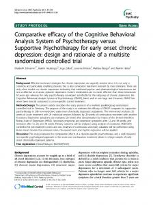 Comparative efficacy of the Cognitive Behavioral ... - BioMedSearch