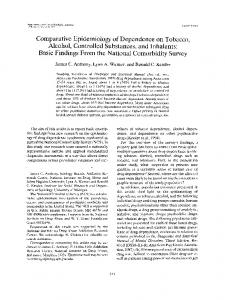 Comparative Epidemiology of Dependence on Tobacco, Alcohol ...