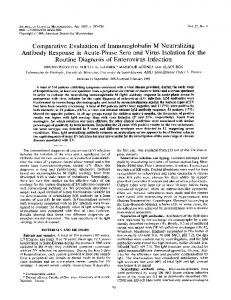 Comparative Evaluation of Immunoglobulin M Neutralizing Antibody ...