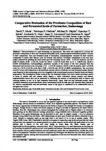 Comparative Evaluation of the Proximate ... - IOSR Journals