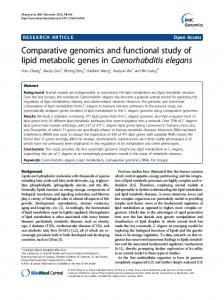 Comparative genomics and functional study of lipid ... - BMC Genomics