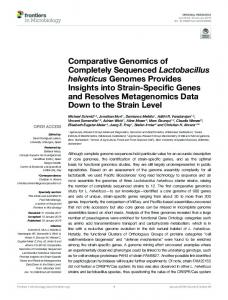 Comparative Genomics of Completely Sequenced Lactobacillus