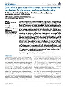 Comparative genomics of freshwater Fe-oxidizing bacteria - Frontiers