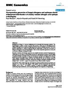 Comparative genomics of fungal allergens and epitopes shows ...