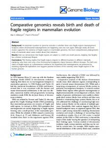 Comparative genomics reveals birth and death of ... - BioMedSearch