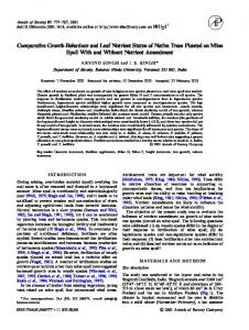 Comparative Growth Behaviour and Leaf Nutrient Status of Native ...