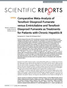 Comparative Meta-Analysis of Tenofovir Disoproxil Fumarate versus ...