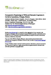 Comparative Parasitology of Wild and Domestic ...