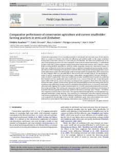 Comparative performance of conservation agriculture and current ...