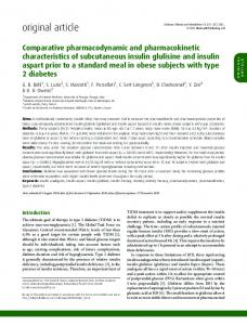 Comparative pharmacodynamic and pharmacokinetic characteristics ...