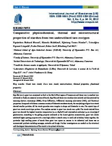 Comparative physicochemical, thermal and microstructural properties