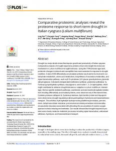 Comparative proteomic analyses reveal the