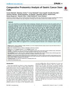 Comparative Proteomics Analysis of Gastric
