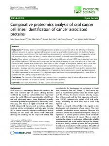 Comparative proteomics analysis of oral cancer ... - Semantic Scholar