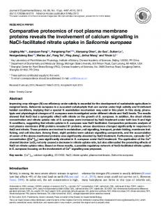 Comparative proteomics of root plasma membrane proteins reveals ...