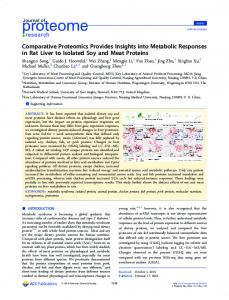 Comparative Proteomics Provides Insights into ... - ACS Publications