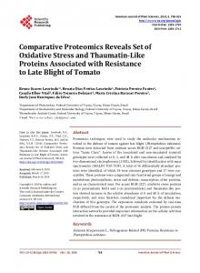 Comparative Proteomics Reveals Set of Oxidative Stress and