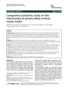 Comparative proteomics study on liver mitochondria of primary biliary