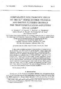COMPARATIVE SPECTROSCOPIC STUDY OF THE Dy3+ DOPED ...