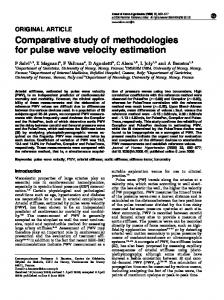 Comparative study of methodologies for pulse wave velocity ... - Nature