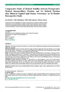 Comparative Study of Skeletal Stability between Postoperative