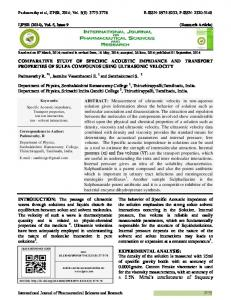 COMPARATIVE STUDY OF SPECIFIC ACOUSTIC IMPEDANCE AND ...