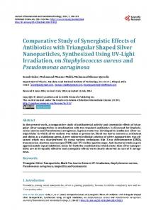 Comparative Study of Synergistic Effects of Antibiotics with Triangular ...