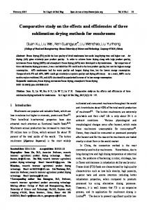 Comparative study on the effects and efficiencies of three sublimation ...
