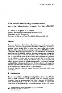 Comparative technology assessment of anaerobic digestion of organic ...