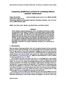Comparing classification methods for predicting distance students ...