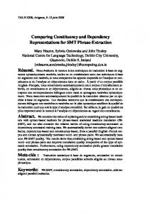 Comparing Constituency and Dependency Representations for SMT ...