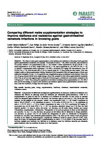 Comparing different maize supplementation strategies to ... - Parasite
