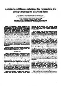 Comparing different solutions for forecasting the ...