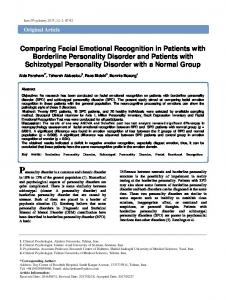 Comparing Facial Emotional Recognition in Patients with Borderline ...